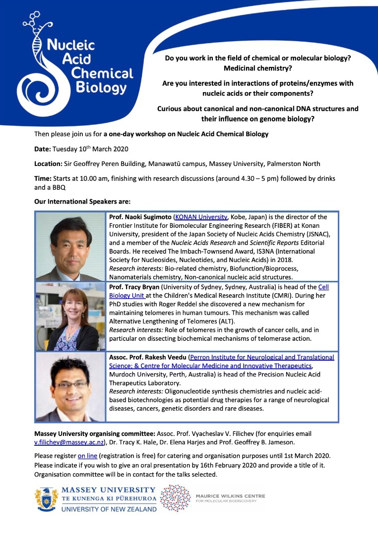 Nucleic Acid Chemical Biology workshop at Massey University