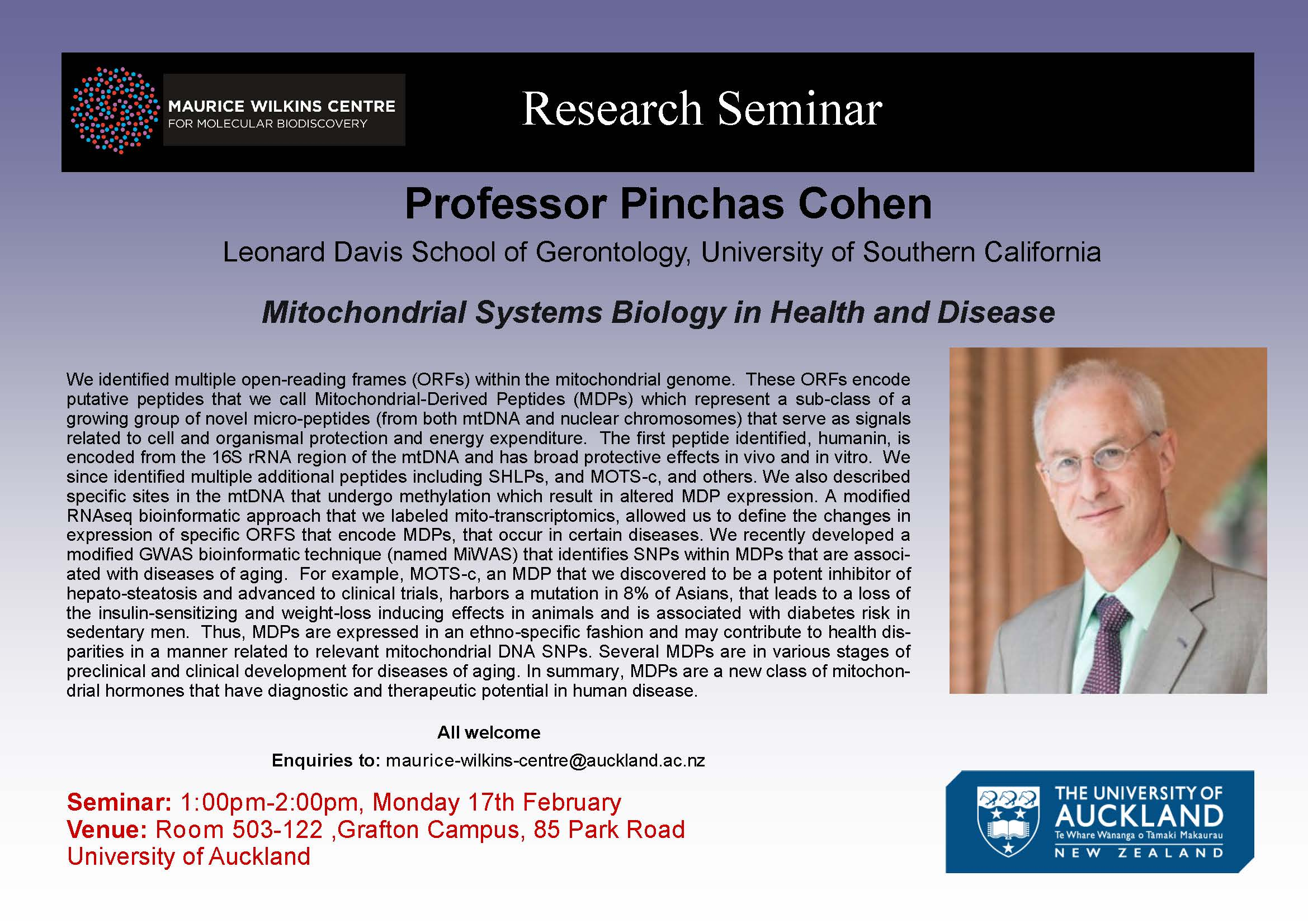 Seminar- Professor Pinchas Cohen